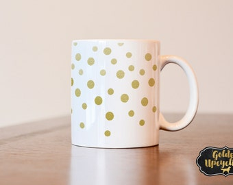 Gold Confetti Mug, Confetti Coffee Mug, Gold Confetti, Confetti, Custom Coffee Mug, Heat Pressed Sublimated Mug, Confetti Coffee Mug
