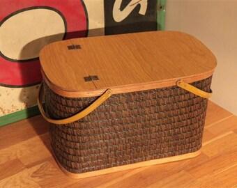 Vintage Hawkeye Woven Picnic Basket with Hinged Lid by Burlington Basket Company