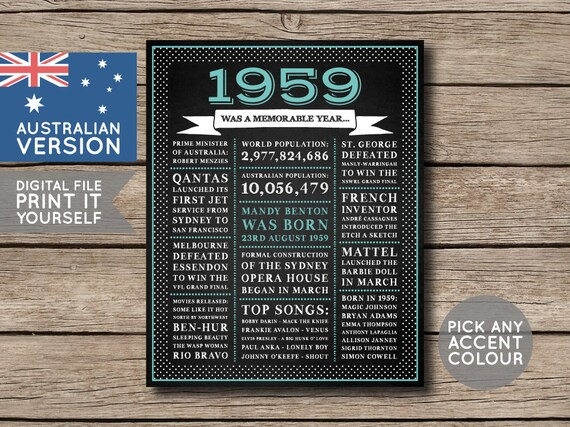 australian 60th birthday poster personalised poster 1959