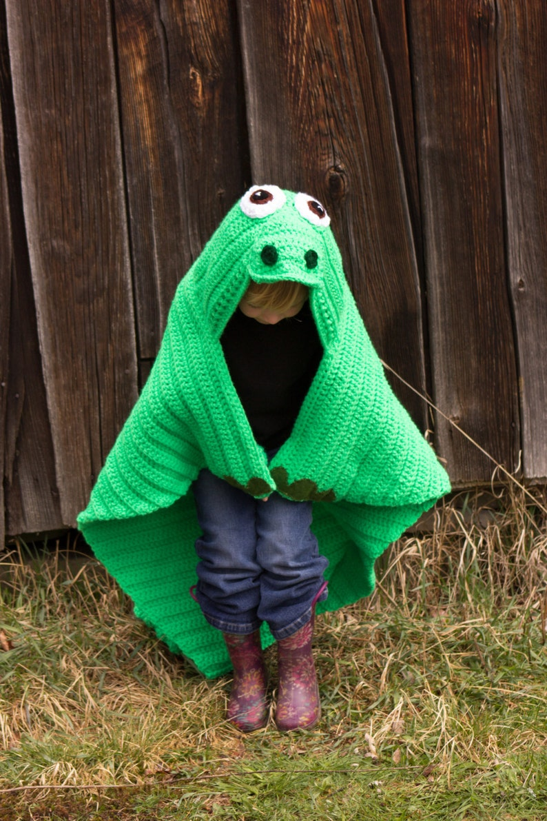 Dinosaur Crochet Blanket MADE TO ORDER Hooded Dinosaur  8327d3adb