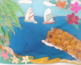Silk Painting Yachts At The Northwall 33cm x 25.5cm  original Design by The Silk Maid