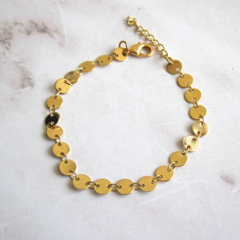 Disc Bracelet Gold Coin Bracelet Best Friend Bracelet Coin Jewelry Chain Bracelet Gold Plated Bracelet Gifts For Her