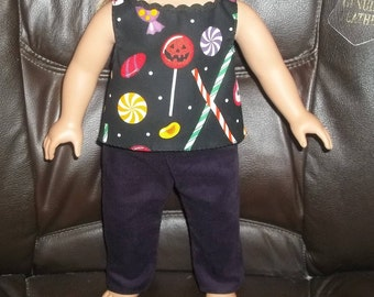 American 18 Inch Doll Clothes Top is black with Halloween candy and Pants are dark purple