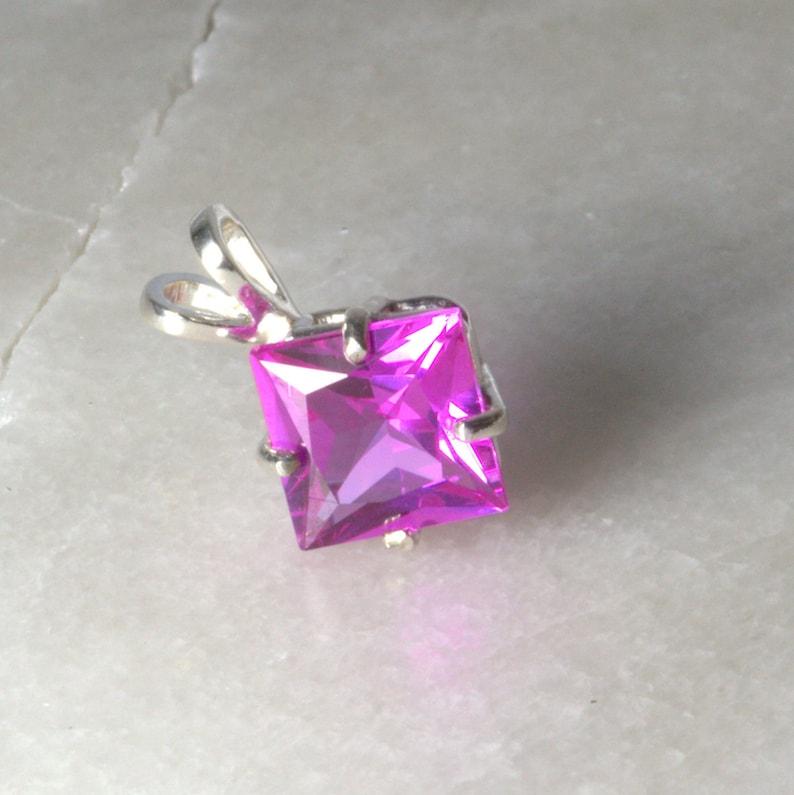 Impressive Pink Sapphire Silver Pendant . image 0