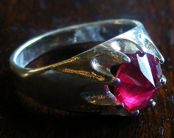 Glass cutter ruby and sterling ring.
