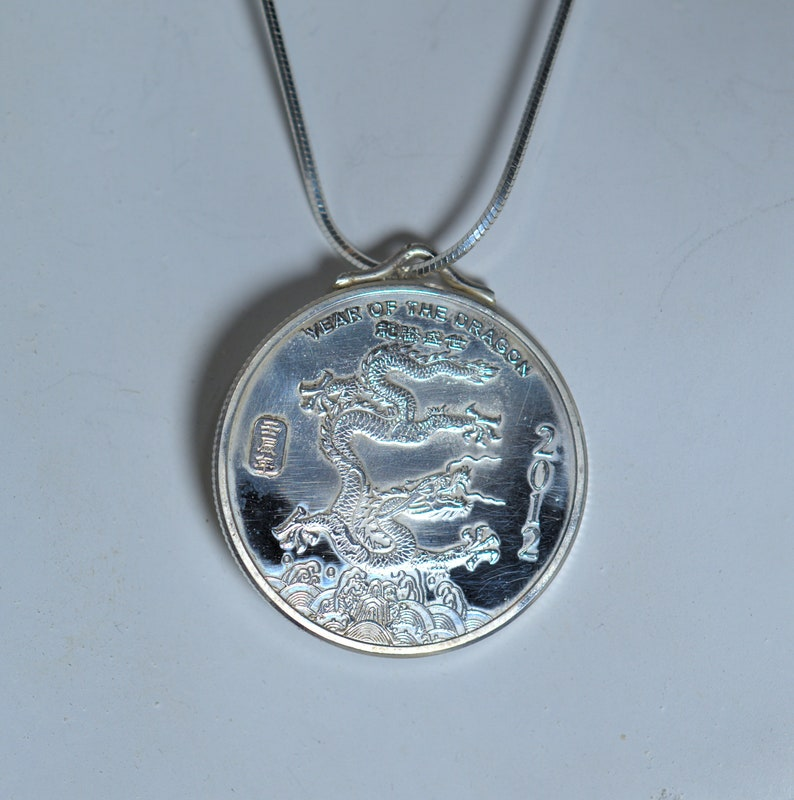 Fine Silver Year of the Dragon Chinese Zodiac Necklace image 0