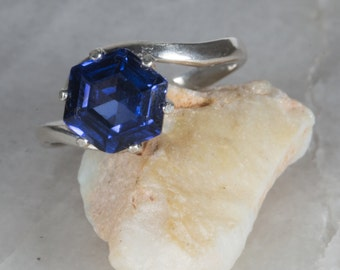 Sapphire and Sterling Ring (size 6)