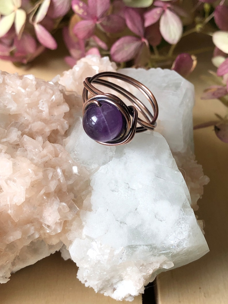 Amethyst Copper Wire Wrapped Stackable Healing Crystal Ring Size 7 US
