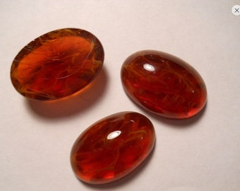 Vintage Colorado Topaz with Inclusions Glass Cabochons Oval 25x18mm - LAST ONE
