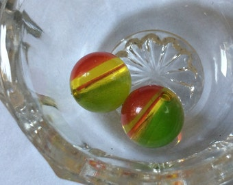 Vintage Cherry Lucite Beads Cherry Lime jello 10mm Round QTY - 2 LAST PAIR