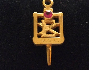 Vintage U.S.C. Engineer Watch Fob Genuine Ruby and 10k Gold Hallmarked on back dated 1985
