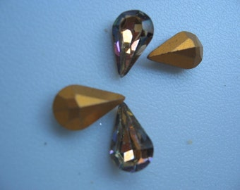 Vintage Swarovski Light Vitrail Pear 10x6mm Rhinestones QTY - 2