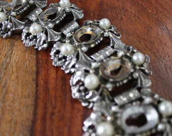Vintage 1940s Hinged Cuff Silver Bracelet