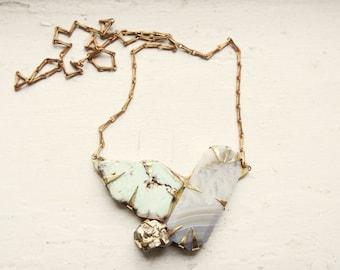 Grey Agate, Freeform Chrysoprase, & Pyrite Necklace