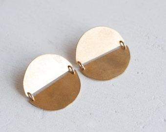 Double Semicircle Earrings | Brass