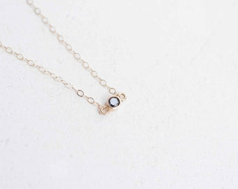 Petite Black Diamond Necklace   14k Recycled Gold