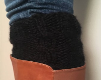 Big Black Bulky Boot Cuffs - Chunky Knit Wool Blend Boot Cuffs - Boot Accessories