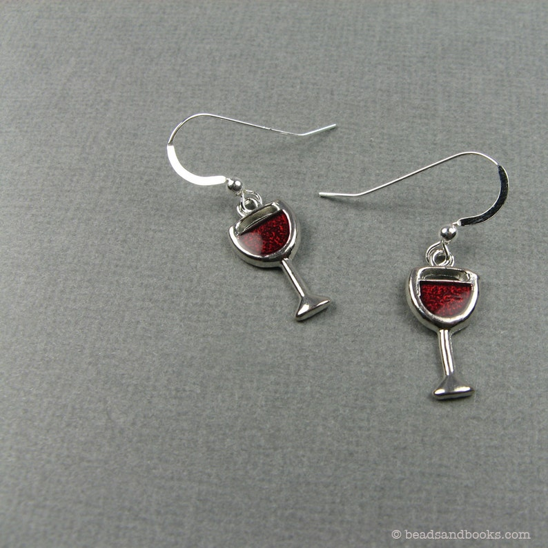 Red Wine Earrings with Sterling Silver Ear Wires  Gift for image 0