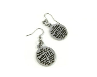 Writer Earrings - Steel Word Jewelry for Author