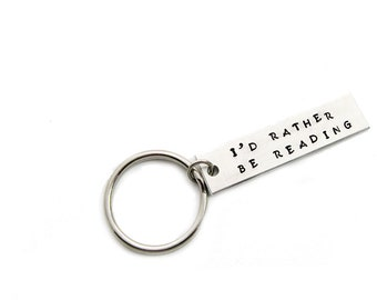 Rather Be Reading Keychain Gift for Bibliophile, Reader, Bookworm, Book Lover