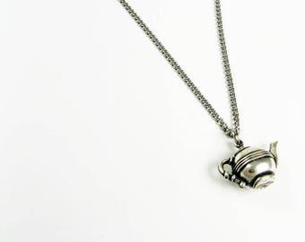 Teapot Jewelry - Tea Party Necklace - Tea Pot Pendant on Steel Chain for Tea Lover