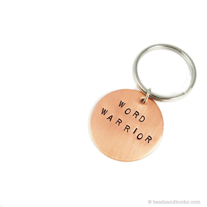 Stamped Key Chain: Word Warrior Gift for Writers Keychain copper