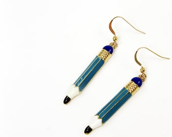 Pencil Earrings - Back To School Jewelry For Teacher or Writer - Free Speech or Freedom of the Press
