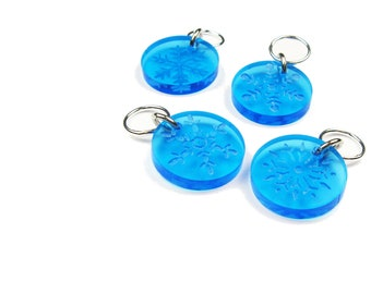 Stitch Markers With Snowflakes (Set of 4) - Gift for Knitter