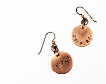 Teacher Earrings (Inspire and Teach Jewelry in Sterling Silver or Copper)