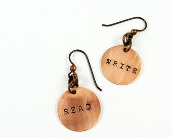 Read & Write Earrings (Writer Jewelry Gift, Teacher Appreciation for Back to School)