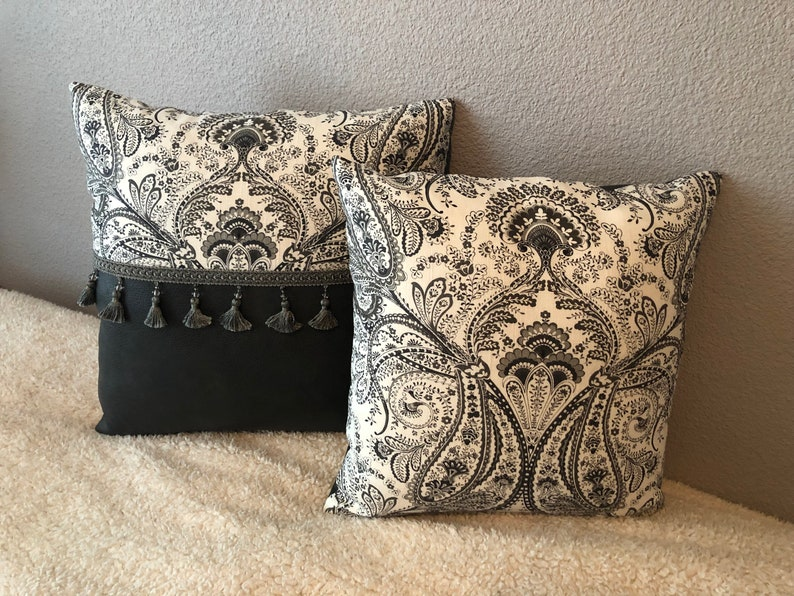 custom handmade one-of-a-kind leather motif throw pillows faux leather pillow fancy living room pillows with inserts set of 3