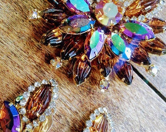 AUTUMN AURORA BOREALIS Rhinestone  Demi Parure set Brooch and Earrings