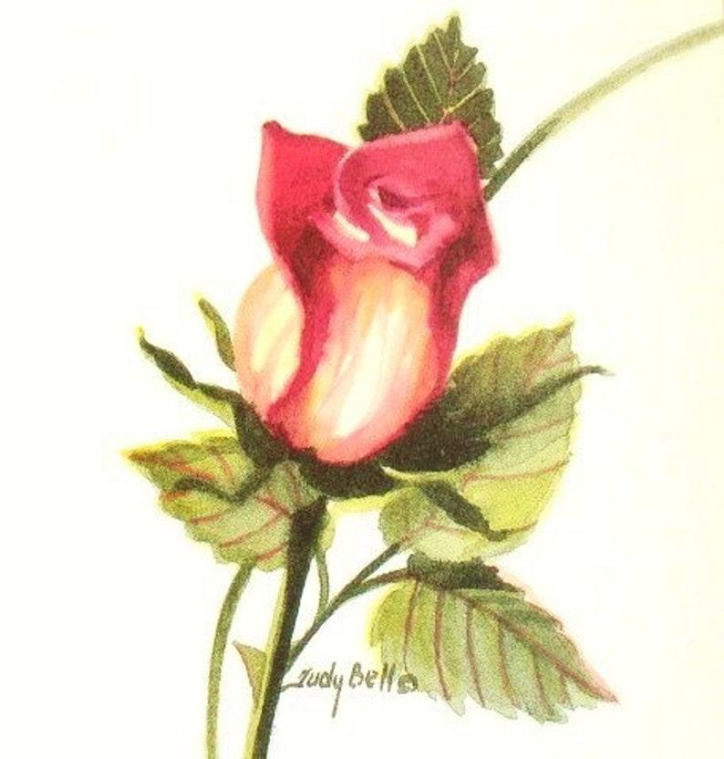 Bocciolo Di Rosa Rosso Dipinto Ad Acquerello Arte Stampa Etsy
