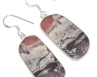 Picasso Jasper earrings Rectangular long drop natural gemstone organic earth tones Boho faceted red river jasper obsidian intarsia