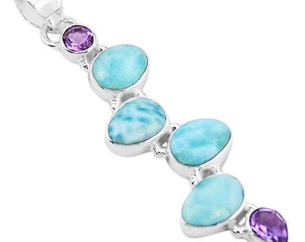 Very  Beautiful Genuine and Rare Larimar and Amethyst Necklace, 925 Silver, with Cord or 925 Silver Chain, One of a Kind
