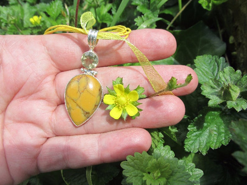 Sale One of a Kind 925 Silver One of a Kind Delicate Tree Beautiful Yellow Dendrite Opal and Citrine Necklace