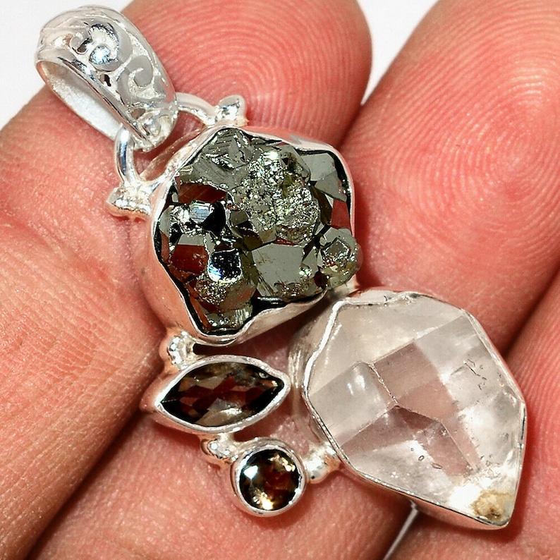 Very Beautiful Clear Quartz or Herkimer Diamond Peruvian Perite and Smoky Topaz Necklace Sale 925 Silver