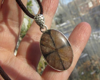 Very Beautiful Chiastolite and 925 Silver Necklace with Cord or 925 Silver Chain, One of a Kind