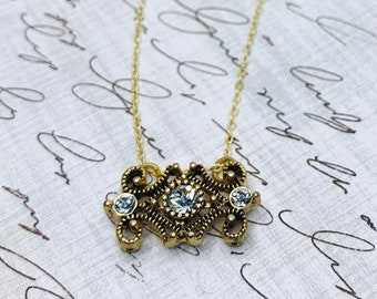Regency Necklace   Dainty antique-style necklace with 14k gold-filled chain and gift box