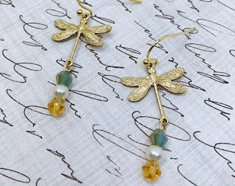 Dragonfly & Amber Earrings    Antique-inspired Earrings with Gift Box, Mom Gift, Mother's Day, Gold Earrings, Vintage Inspired