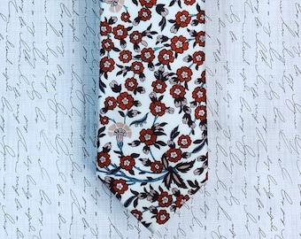 Liberty London Collection: Empire Skinny Tie    Gifts for him, keepsake ties, wedding ties, red floral tie, Christmas tie, groom tie