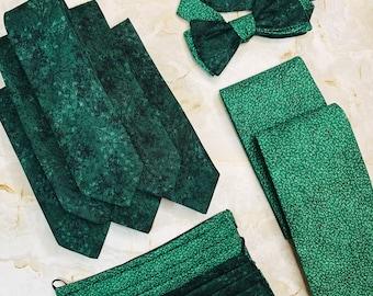 Dark Green Emerald Tie by Lord and Lady     Dark Green Wedding ties,  groomsmen gifts for him, groom tie, cotton ties, green ties