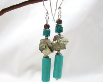 Turquoise and Freeform Pyrite Earrings