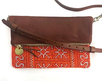 Crossbody Purse / Clutch - Hand Embroidered Orange Tribal Blanket + Cognac Brown Leather