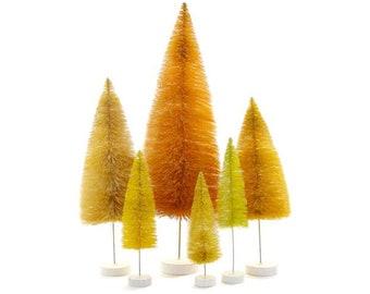 Bottle Brush Trees Set - Yellow (6 pcs)