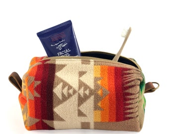 READY TO SHIP: Large Toiletry Bag from 60s Tribal Blanket with Leather