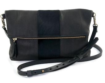 "Medium Leather Crossbody Purse – ""The Betty"" with calf hair stripe (multiple colors)"