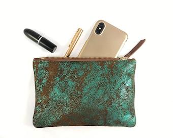 Small Leather Clutch (green metallic OR blue metallic)