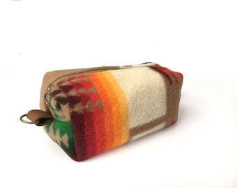 READY TO SHIP: Medium Toiletry Bag from 60s Tribal Blanket with Leather