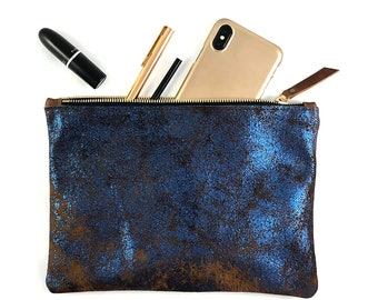 Medium Leather Clutch (blue metallic OR green metallic)